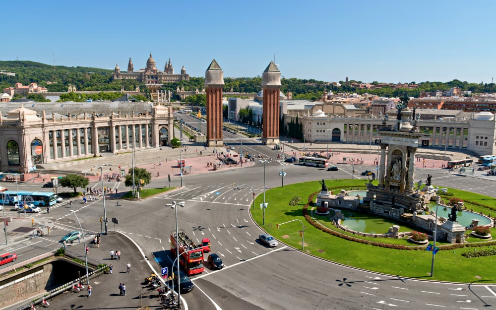 Plaza Espana in Barcelona and National Palace