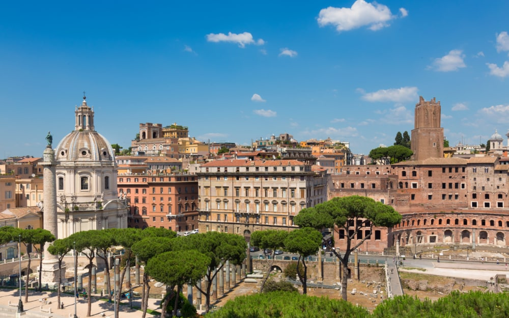 Panoramic view of Imperial Forums in Rome